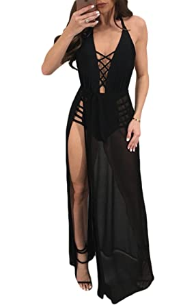 cb1b108512 Womens Sexy Deep V Neck Open Back Lace Up Spaghetti Strap Chiffon Split Dress  Black S