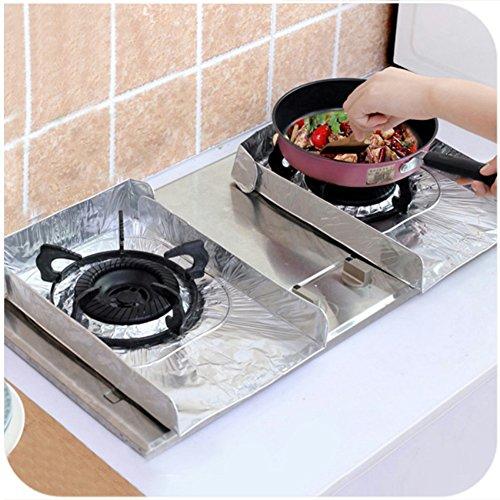 2 Pcs Oil Splatter Screen Gas Stove Oil Plate Aluminium Foil Anti-oil Pad Kitchen Cooking Insulate Splash Proof Baffle (silver) (Baffle Oil)