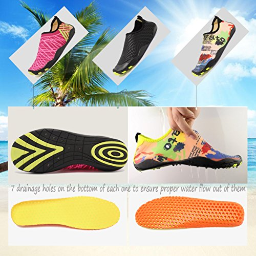 ACLULION Men Women Barefoot Quick-Dry Water Aqua Shoes Skin Flexible Socks For Beach, Swimming,Yoga Rose