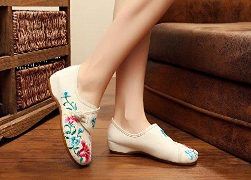 Tendón Meters Moda Mujeres Gamuza Bordado Étnico Zapatos White Cómodo Suela Zapatos Baile De Mn Estilo wOSEBqBgn