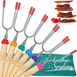 Carpathen Campfire Roasting Sticks for Marshmallow and Hot Dog – Set of 6 Telescopic Smores Skewers Extra Long Heavy…