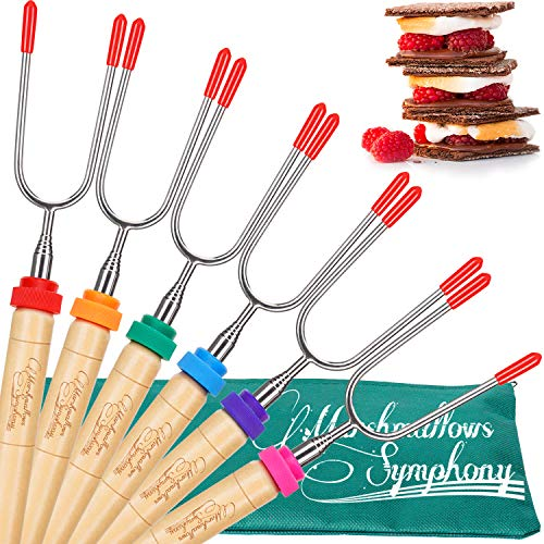 Carpathen Campfire Roasting Sticks for Marshmallow and Hot Dog - Set of 6 Telescopic Smores Skewers Extra Long Heavy Duty Forks for Fire Pit & Fireplace - Camping Grill Accessories (Kitchen Cooking For Fireplaces)