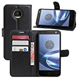 Moto Z Case, Fettion [Stand Feature] Leather Wallet Phone Protective Case Flip Cover with Card Pockets for Motorola Moto Z 2016 Smartphone (Wallet - Black)