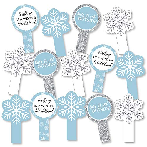Winter Wonderland - Snowflake Holiday Party & Winter Wedding Party Paddle Photo Booth Props - Selfie Photo Booth Props - Set of 14 -