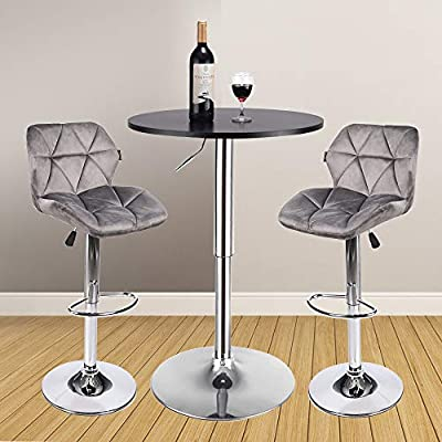 Bar Table Set of 3 – Adjustable Round Table and 2 Swivel Pub Stools for Home Kitchen Bistro, Bars Wine Cabinets