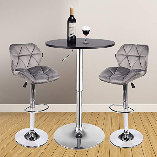 Bar Table Stool Set of 3 - Adjustable Round Table Black and 2 Swivel Pub Stools Velvet Fabric for Home Kitchen Bistro, Bars Wine Cabinets Grey Height Adjustable Back Tuffled Cushion Breathable(Set 9)