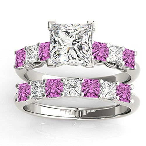 Pink Sapphire Princess Ring (Princess cut Diamond and Pink Sapphire Bridal Set Setting with Wedding Band Platinum 2.20ct)