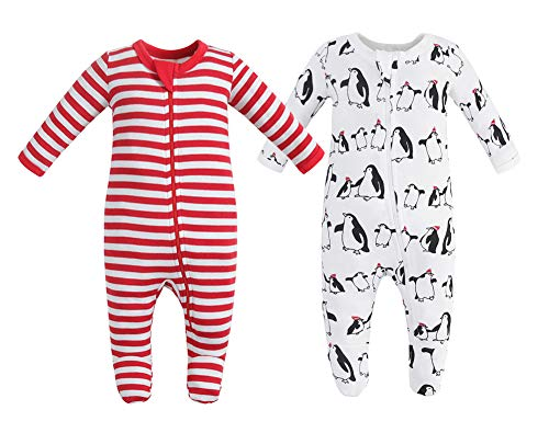 Owlivia Organic Cotton Baby Boy Girl 2 Pack Zip Front Sleep 'N Play, Footed Sleeper,Christmas Pjs Long Sleeve (Size 0-18 Month)(3-6Months,Penguin+Red Stripe)