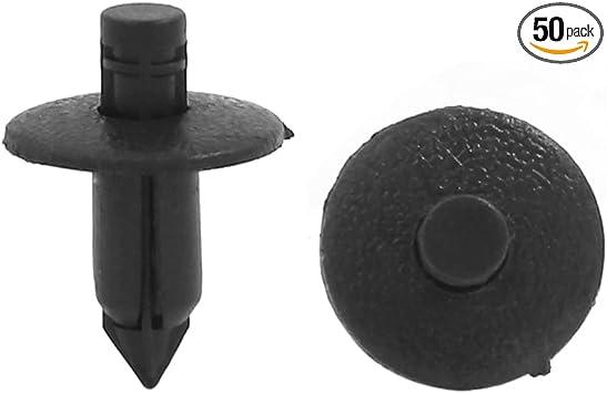 50 x 8mm Hole Plastic Rivets Fastener Push Clips Black fit Car Auto Fender