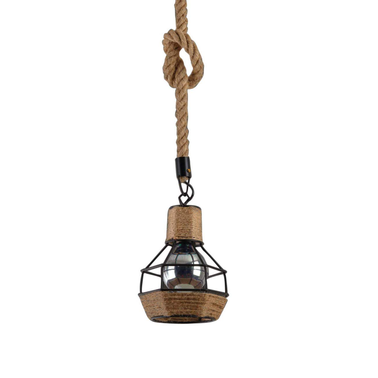 Wsxxn Hemp Rope Chandelier, Retro Style Restaurant Bar Table Wrought Iron Loft Hang Lamp Personality Decoration American Country Industrial Pendant Lamp
