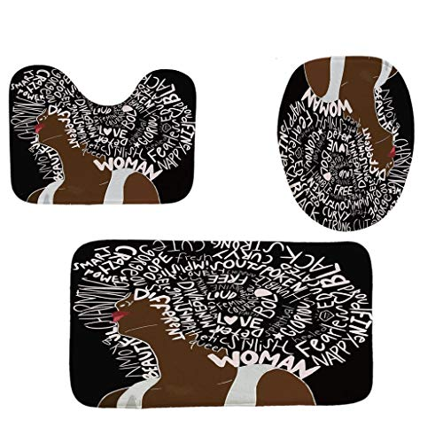 Toilet mats Set Fiaya 3Pcs /4PCS Character African Girl Muticolors Polyester Bathroom Set Rug Contour Mat+Toilet Lid Cover +Plan Solid Color Bath Mats +Shower Curtain (3PCS, Black Letter African Girl)