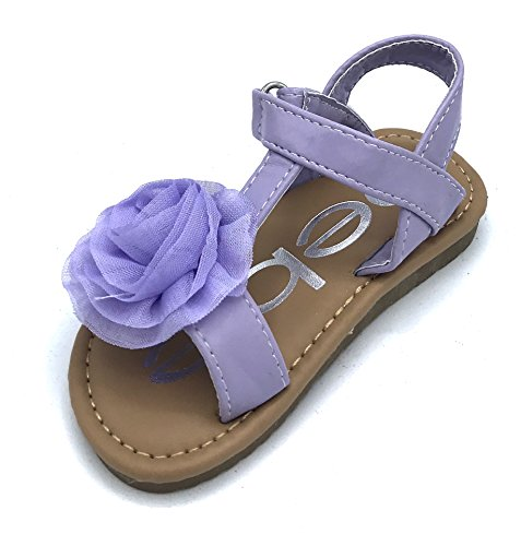 bebe Toddler Girls T-Strap Sandals with Chiffon Flower, Lilac, 6