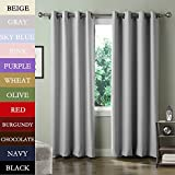 TWOPAGES® Solid 100 inches Width Anti-Bronze Grommet Triple Weaved Polyester Curtains Drapes ( 1 Panel ) 100 W by 96 Inch L Grey