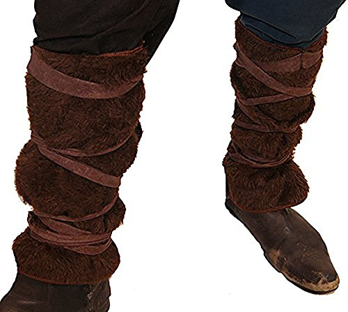 [VIKING-MEDIEVAL-SCA-RE ENACTMENT-LARP BROWN FAKE FUR VIKING LEG WRAPS] (Larp Costumes Uk)