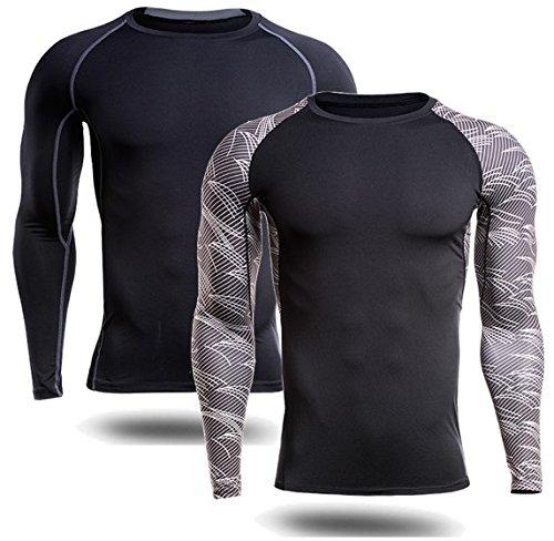 平方ベッドロケットNET-O (ネットオー) スポーツ用 インナーシャツ 速乾ドライ 肌触り良好 伸縮素材 日焼け UV (ブラック+柄セット) 2枚セット Lサイズ