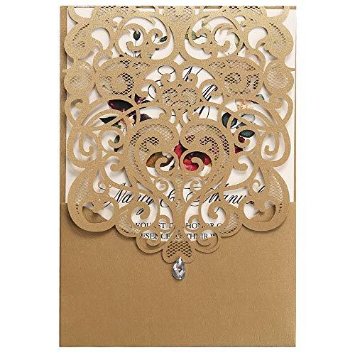 Pocket Wedding Invitation Kits (Doris Home 50pcs Vertical Gold Classic Style Wedding Invitations with Rhinestone Cards Kit)