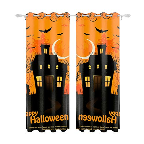 Verna Christopher Blackout Curtains Halloween Drapes Thermal Insulated Panels Home Decor Window Treatments Draperies for Bedroom ()