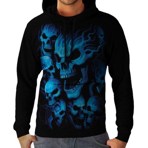 Wellcoda   Ghost Skeleton Skull Mens NEW Blue Mask Black Hoodie L