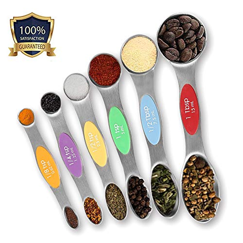 (Julance Magnetic Measuring Spoons Set, Stainless Steel, Upgraded Colourful Dual Sided Teaspoon Set, Fits in Spice Jars, Tablespoon Set for Measuring Dry and Liquid Ingredients, Set of 6 )