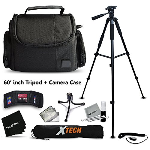 "Premium Well Padded Camera CASE / BAG and Full Size 60"" inch TRIPOD Accessories KIT for Samsung NX500, NX1, NX3000, WB2200F, WB1100F, NX30, NX, NX2000, NX1100, NX300, NX300M, EX2F Digital Cameras"