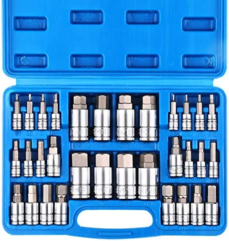CASOMAN 32 Piece Master Hex Bit Socket Set, S2 Steel, SAE And Metric, Allen Socket Bit, 5/64-inch to a few/4-inch, 2mm to 19mm Socket Tool Kit