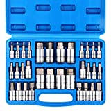 CASOMAN 32 Piece Master Hex Bit Socket Set, S2 Steel, SAE And Metric, Allen Socket Bit, 5/64-inch to 3/4-inch, 2mm to 19mm Socket Tool Kit