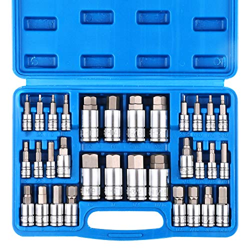 CASOMAN 32 Piece Master Hex Bit Socket Set, S2 Steel, SAE And Metric, Allen Socket Bit, 5/64-inch to 3/4-inch, 2mm to 19mm Socket Tool Kit ()
