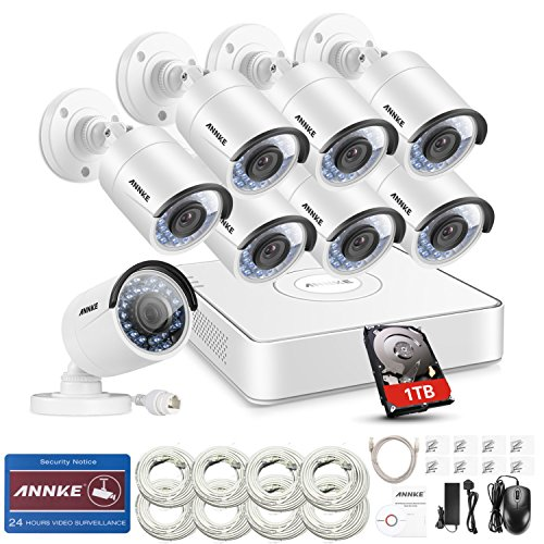 ANNKE 8 Channel 1080p HD Simplified PoE NVR and (8) Outdoor Indoor Metal IP Camera System,100ft Night Vision, Pre-installed 1TB Hard Drive, Remote View & Smart Recording