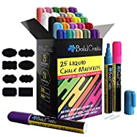 Bold Crafts Liquid Chalk Markers- Pack of 25 Erasable Neon, Classic, Metallic Colors with 6mm Reversible Tips (Chisel, Bullet), 24 Chalkboard Labels, Extra White Pen, 2 Replacement Tips