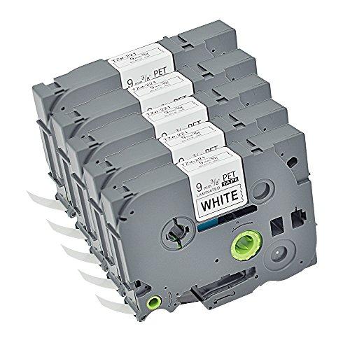 - 5PK TZ TZe TZ221 TZ221 Compatible Brother P-Touch Labeling Tape Standard Laminated TZo221 3/8