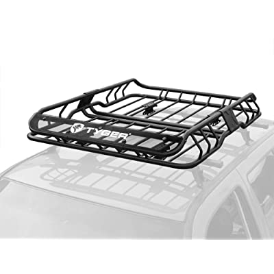 Tyger Heavy Duty Roof Mounted Cargo Basket Rack | L47 x W37 x H6 | Roof Top Luggage Carrier | with Wind Fairing: Automotive