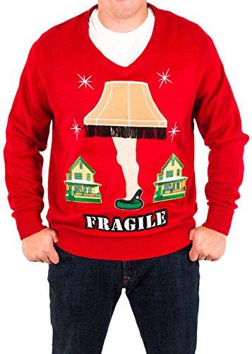 Costume Man Lamp Leg Leg One (Men's A Christmas Story Fragile Leg Lamp Ugly Christmas Sweater (Red))