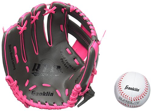 - Franklin Sports Teeball Glove - Left and Right Handed Youth Fielding Glove - Synthetic Leather Baseball Glove - Ready To Play Glove (RTP) - 9.5 Inch Left Hand Throw - Graphite/Pink with Ball