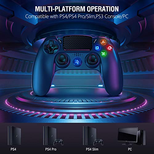Gamory Wireless Controller for PS4, Controllers Gamepad for for PlayStation 4 / PS4 Slim / Pro / PS3, Touch Panel Joypad Six-axis Dual Vibration Game Remote Control Gamepad Joystick
