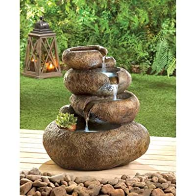 Garden Fountain Relaxation Rock Sculptures Indoor Outdoor Statues Ornament Waterfall Pump Feng Sui Decorative