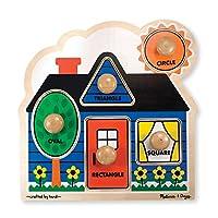 Melissa y Doug: Las primeras formas del rompecabezas de pomos gigantes, ilustraciones coloridas, construcción de madera extra gruesa, 5 piezas, 15.5? H × 11.2? W × 1.6? L