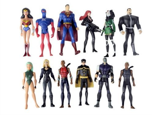 Set of 12 DC Comics Super Hero Young Justice Action Figures Featuring Superman, Wonder Woman, Robin, Cheshire, Sportsmaster, Aqulad, Black Canary, Micron, Whisper and Other Young Justice Members by DC Comics