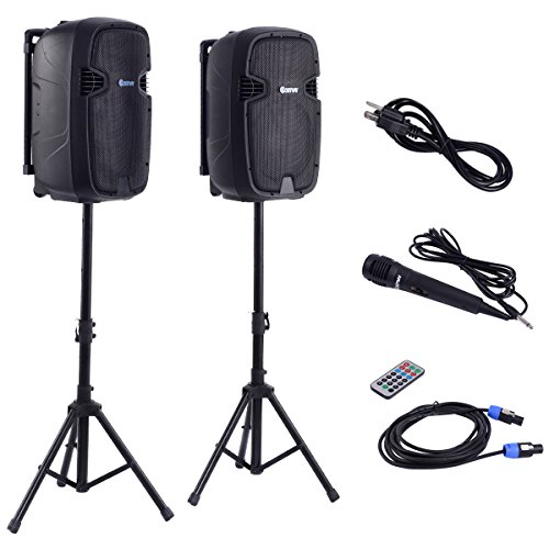 Costway Dual 12 Inch 2-way 2000Watts Powered Speakers with Bluetooth, Mic, Speaker Stands, Control & Cables by COSTWAY