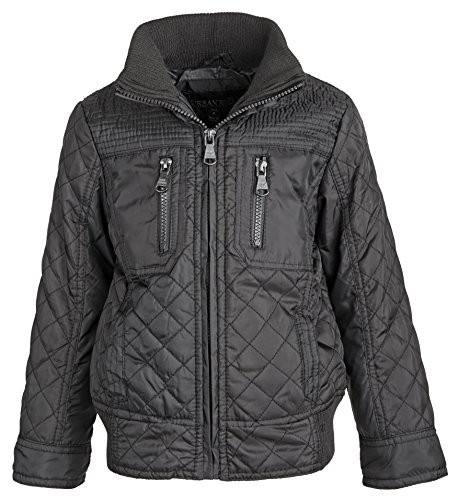 Urban Republic Boys Lightweight Padded Diamond Quilted Spring Rain Jacket - Charcoal (24 Months)
