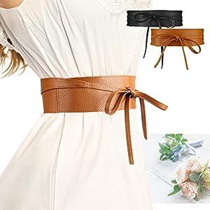 Women's PU Leather Wrap Around Bow Tie Obi Waist Band Belt for Dress Boho Belt