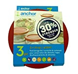 Anchor Hocking Improved 30% Stronger Replacement Lid 2 Cup / 472 ml / 0.5 qt, Set of 3 lids, red Round