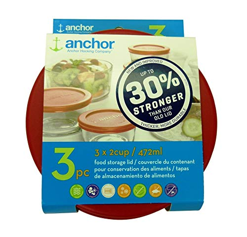- Anchor Hocking Improved 30% Stronger Replacement Lid 2 Cup / 472 ml / 0.5 qt, Set of 3 lids, red Round