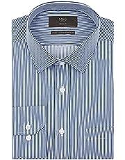 Marks & Spencer Men's Regular Fit Non Iron Striped Shirt, NAVY MIX