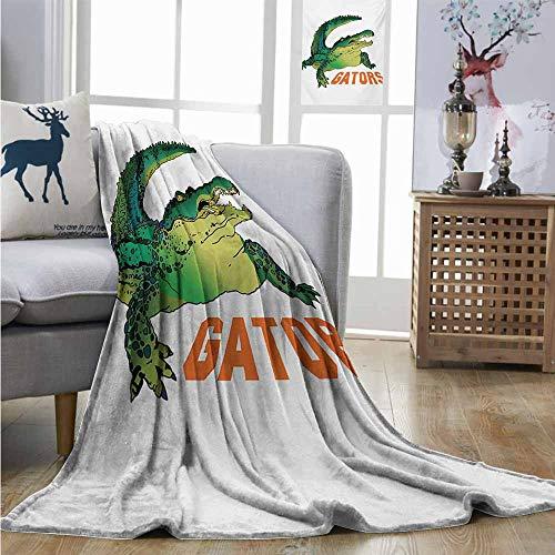 - Super Soft Lightweight Blanket Reptile Grumpy Alligator Has a Word Gator Crocodile Humor Wild Life Safari Aquatic Blanket as Bedspread W40 xL60 Green Orange White