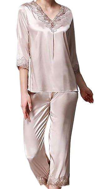 BU2H Womens Silk Satin Pajamas Set Loungewear Lace Sleepwear Camel US XS 8a4e7cfed