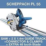 Scheppach PL55 Plunge Saw & 2 X 1.4M Guide Track & Connector + Spare 48Z Blade