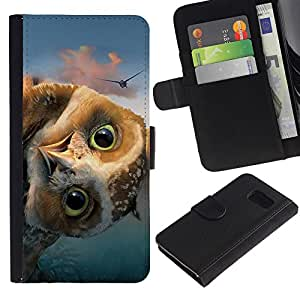 Stuss Case / Funda Carcasa PU de Cuero - DIVERTIDA - FRIENDLY OWL - Samsung Galaxy S6