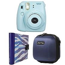 Nifty FK-M8BL85PP Fuji Instax Mini 8 Camera Kit Blue, with A Mini Camera Case Navy Blue, Plus Purple and White Zebra Album