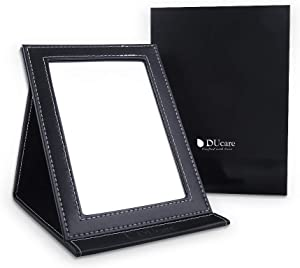 DUcare Folding Mirror, Portable Folding Makeup Mirror with Desktop Standing for Cosmetics Personal Beauty, Office, Home, Leather Mirror