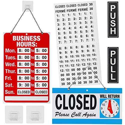 Open Signs, Business Hours Sign Open Closed Sign Push Pull Door Signs Kit for Business -Vinyl Number Stickers & 2 Self Adhesive Hooks Included, Ideal Signs Set for Any Business Walls Window Shop Bar